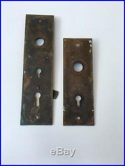 Set Of 2 Antique Brass Or Bronze Art Nouveau Door Knob Back Plates Architectural