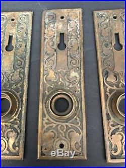 Set Of 4 Antique Brass Art Nouveau Door Knob Back Plates