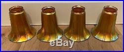 Set Of 4 Antique Signed Quezal Iridescent Art Glass Light Fixture Lamp Shades