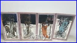 Set Of 4 Art Nouveau Mucha Mirrors Seasons Spring Summer Autumn Winter #612