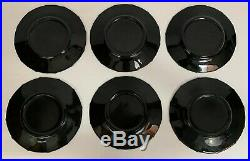 Set Of 6 Antique Black Glass Sterling Silver Overlay Salad Plates Rockwell
