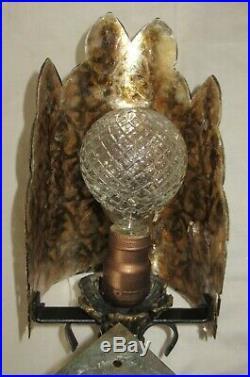 Set Of Antique Art Nouveau Mica Chandelier & 2 Sconces Light Fixture Cast Metal