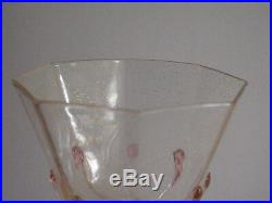 Set Of Eight Art Nouveau Hand Made Salviati Drinking Wine Glasses