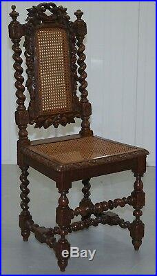 Set Of Four Jacobean Victorian Edwardian Hand Carved Oak Dining Chairs Rattan