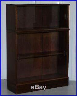 Set Of Four Modular Stacking Mahogany Library Bookcases Glass Doors Minty Globe