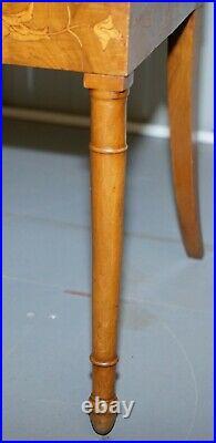 Set Of Six Italian Walnut 19th Century Putti Cherub Angel Inlaid Dining Chairs 6
