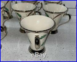 Set of 11 Lenox Holiday Nouveau Platinum Cream Holly Mugs EUC