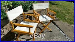 Set of 2 1982 Telescope WOOD and CANVAS FOLDING DIRECTORS CHAIRS