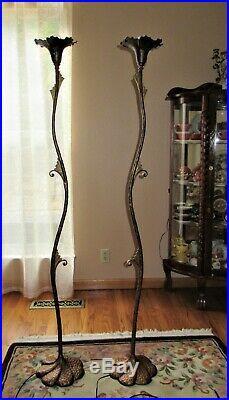 Set of 2 ea. Art Nouveau / Deco Floor Lamps Cast Iron Fixture Rewired 1930's