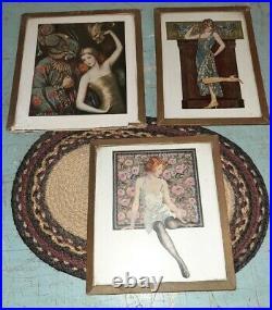 Set of 3 Antique ART NOUVEAU LADIES Posing Cutouts with Glass Framed RARE