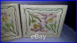 Set of 3 Antique Art Nouveau Tiles by Sachslschochamatte Germany Art Nouveau