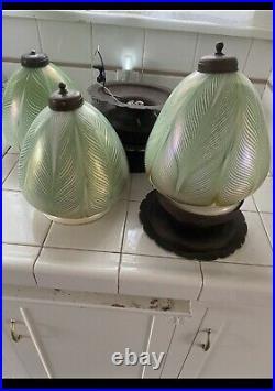 Set of 3 Vintage Art Nouveau Green Glass Ceiling Flush Mount Gold Details