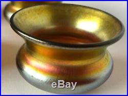 Set of 4 Steuben Salt Gold Aurene 1 1/2 tall 2 1/2 wide excellent condition