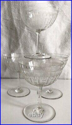 Set of 4 Vintage Crystal Wheel Engraved Edwardian Champagne Coupe Glasses 175ml