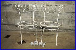 Set of 4 Vintage Wrought Iron Garden Patio Dining Chairs Woodard Chantilly Rose