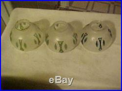 Set of 6 UNUSUAL Wheel Etched & Hand Colored Art Nouveau 2-1/4 Electric Shades