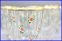 Set of 7 Antique Lobmeyr Bohemian enamel roses gold glasses