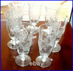 Set of 7 Parisian Pheasant Iced Tea Glasses by Tiffin Franciscan Ships Free