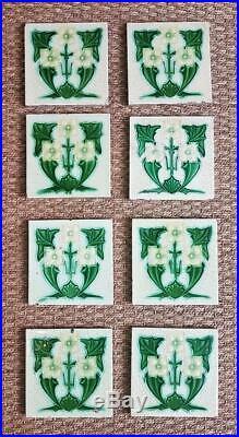 Set of 8 Original Antique Vintage 6 inch Art Nouveau Fireplace Wall Tiles