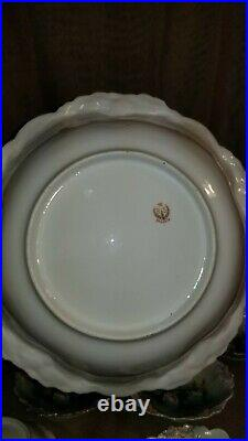 Set of Antique RS Prussia Icicle & Flower Mold Swans Large Bowl & 6 small Bowls