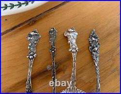 Set of FOUR Sterling Silver POPPY Figural Floral Spoons Ladle Paye Baker Nouveau