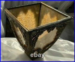 Set of Five Ornate Antique Metal Slag Glass Lamp Shades
