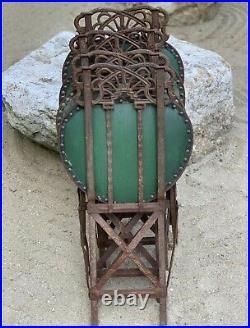 Set of Four Art Nouveau Cast Iron Folding Chairs with Original Seats. Circa 1890