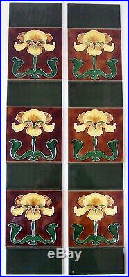 Set of Stovax Yellow Iris Art Nouveau Tube Lined Fireplace Tiles Birmingham