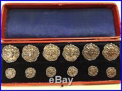 Set of Twelve Antique Sterling Art Nouveau Buttons, Hallmarked 1904