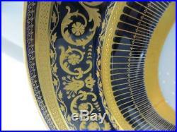 Set of Twelve William Guerin & Co. Limoges Porcelain Cobalt Gilded Dinner Plates