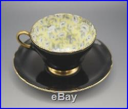 Shelley England Rose Chintz Tapestry Black And Yellow Cup And Saucer Set Rare
