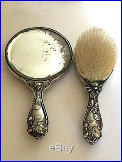Sterling Silver Classic Maiden Art Nouveau Hand Mirror Brush Dresser Set Antique