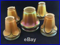 Steuben Brown Aurene Art Nouveau Glass Shade Blue Drape Set Of 5