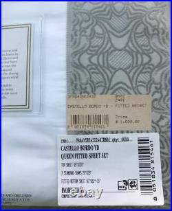 Stunning $1600 Frette Castello Bordo Queen Sheet Set White Gray Jacquard Border