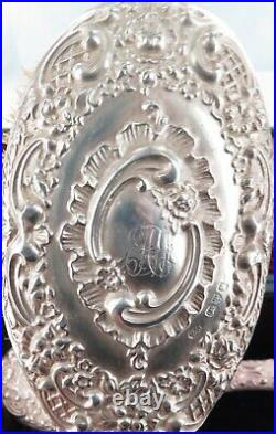 Stunning 1898 English Sterling Silver 5 Piece Vanity Setting. Lady Silversmith