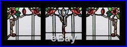 Stunning Art Nouveau Floral Rambling Rose Set Of 3 English Stained Glass Windows