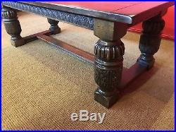 Stunning English Oak Refectory dining table set pro French Polished