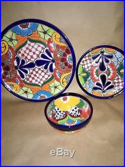 Talavera 24 Piece Dinnerware Settings, Handpainted from Mexico Folk Art