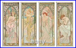 Times of the day Alphonse Mucha Nouveau Canvas Print Picture Wall Art set of 4