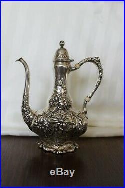 UNGER BROS. Sterling FRENCH DEMITASSE TEA COFFEE Set ART NOUVEAU SUGAR CREAMER