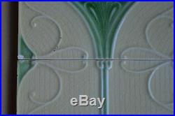 Unbrand England Antique Art Nouveau Majolica Set 4-tile C1900