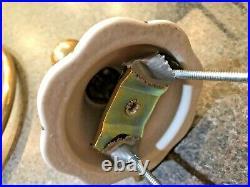 VINTAGE ANTIQUE WHITE PORCELAIN FLORAL BATHROOM FIXTURES with 24K GOLD TRIM SET/8