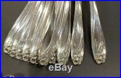 VTG 1950 1847 Rogers Bros IS Silverplate 59 Piece Daffodil Pattern Flatware Set