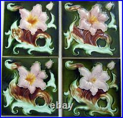 Very Fine Original Set of 10 Antique Art Nouveau LILY Fireplace Tiles Birmingham
