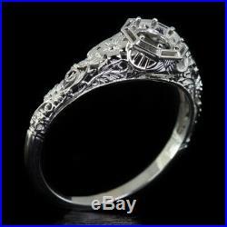 Vintage 1920 Semi-mount Art Nouveau Setting Round Flower Vine Antique Style Ring