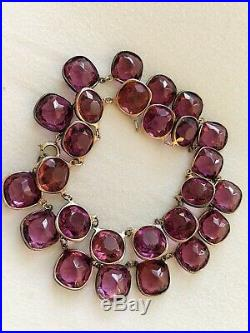 Vintage Antique Art Deco Sterling Large Glass Paste Open Back Bezel Set Necklace