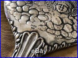 Vintage Antique Victorian Solid Silver Cherub Dressing Table Vanity Set