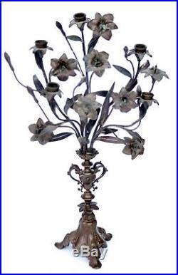 Vintage Art Nouveau Bronze Wheat & Grape Harvest Motif Candelabra Set