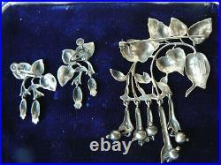 Vintage Art Nouveau Fuchsia G. Cini Sterling Dangle Brooch Pin & Earring Set