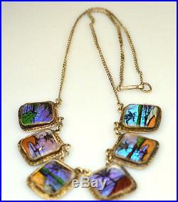 Vintage Butterfly Wing Tropical Scenes Necklace Bracelet Set Demi Parure Brazil